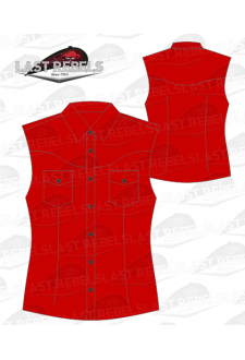 Chemise Country rouge - Sans manches