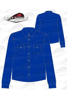 Chemise Country bleu marine - Manches longues