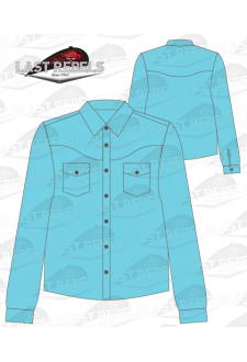 Chemise Country bleu turquoise - Manches longues