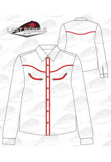 Chemise Country blanche liseret rouge - Manches longues