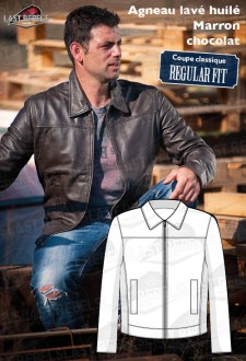 Sheep leather jacket brown color for man
