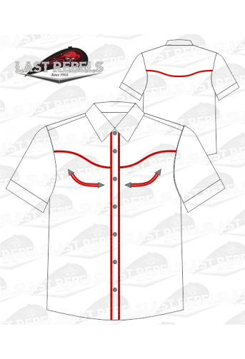 Chemise Country blanche liseret rouge - Manches courtes