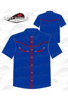 Chemise Country bleu marine liseret rouge - Manches courtes
