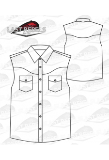 Chemise Country blanche - Sans manches