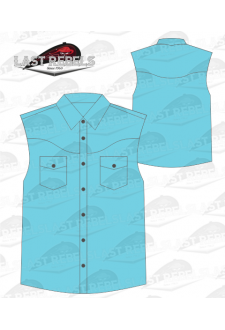Chemise Country bleu turquoise - Sans manches