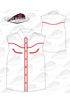 Chemise Country blanche liseret rouge - Sans manches