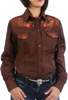 Chemise country femme marron impression crâne buffalo indien