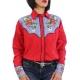 Chemise western cowboy femme rouge avec impressions