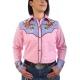 Chemise western cowboy femme rose avec impressions