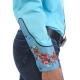 Chemise western cowboy femme turquoise avec impressions