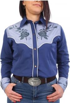 Chemise western cowboy femme bleue avec impressions