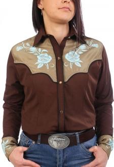 Chemise western cowboy femme marron avec impressions