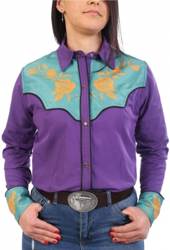 Chemise western cowboy femme violette avec impressions