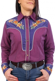 Chemise western cowboy femme fuschia avec impressions