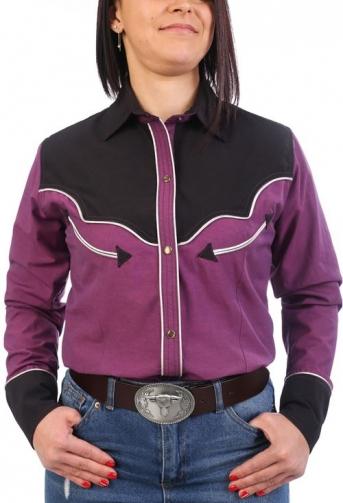 Chemise western cowboy femme fuschia et noire