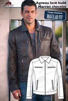CLASSIC Sheep leather jacket brown color for man