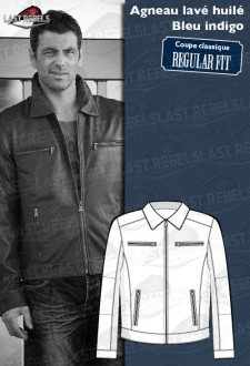 Classic Sheep leather jacket indigo blue color for man