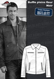 Buffalo leather jacket Classic style black color for man