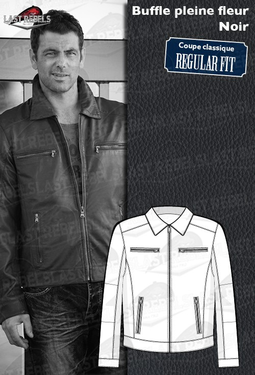 f94447f3d816b Buffalo leather jacket Classic style black color for man