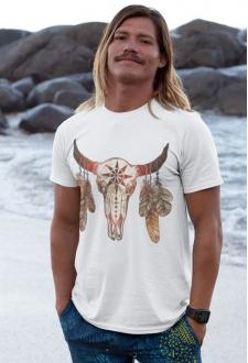 T-shirt Indien blanc Totem Long horn