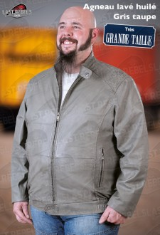 Plus size sheep leather jacket charcoal for man