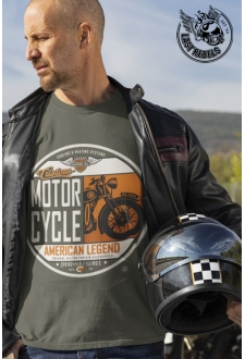 T-shirt Vintage kaki Custom Motorcycle