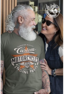 T-shirt Vintage kaki Custom motorcycle engine parts